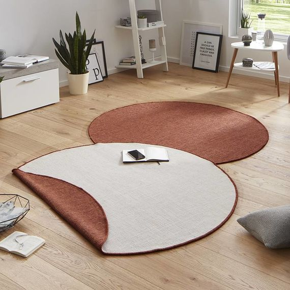 Bougari Rond Vloerkleed Twin Solid - Terra/Creme