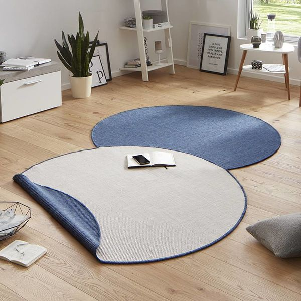 Bougari Rond Buitenkleed - Twin Solid Blauw/Creme