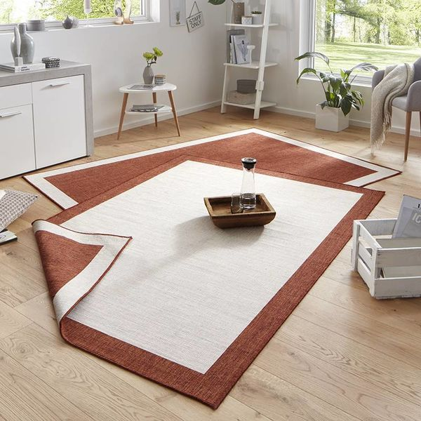 Vloerkleed Twin Square - Terra/Creme