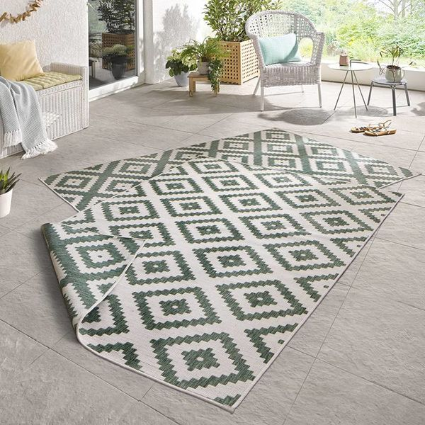 Bougari Buitenkleed - Twin Diamond Groen/Creme