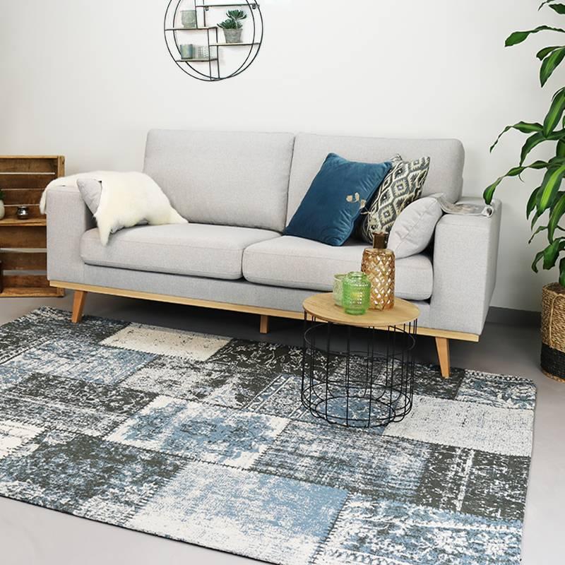 Patchwork vloerkleed - Dreams Grijs/Blauw 240x340cm
