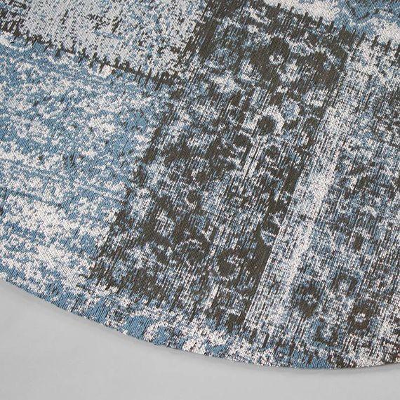 FRAAI Rond patchwork vloerkleed - Dreams grijs/blauw