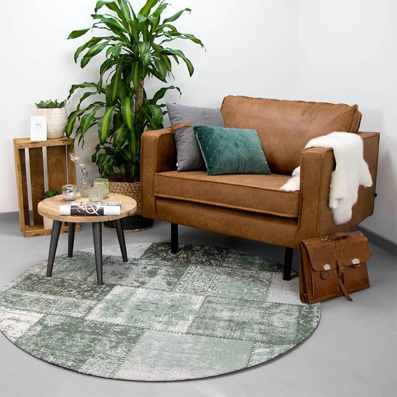 Rond patchwork vloerkleed - Dreams Groen 200cm