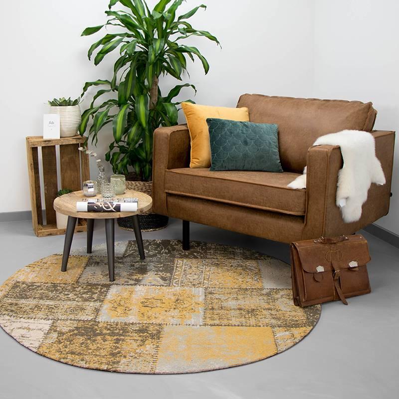 Rond patchwork vloerkleed - Dreams Okergeel 200cm