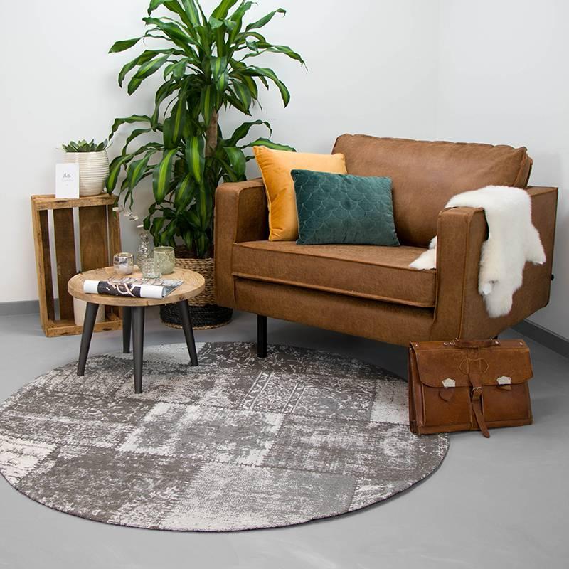 Rond patchwork vloerkleed - Dreams Grijs 200cm