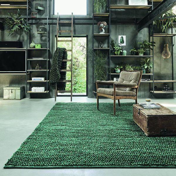 Wollen vloerkleed - Cobble Groen 29207