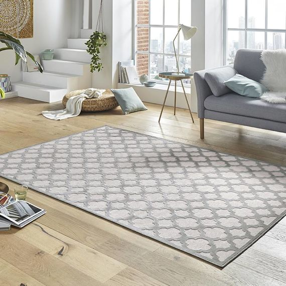 Mint Rugs Viscose Vloerkleed - Shine Byron Grijs