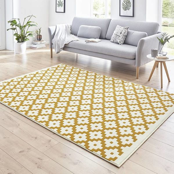 Modern vloerkleed - Susa lattice Goud Creme
