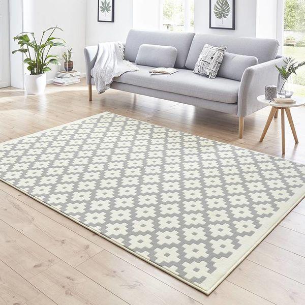 Modern Vloerkleed - Susa lattice grijs Creme