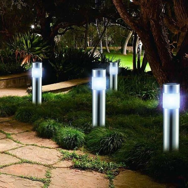 Luxe led solar tuinlampen RVS - set 4