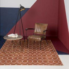 Brinker carpets Bamboe zijde Vloerkleed - Laatz Terracotta