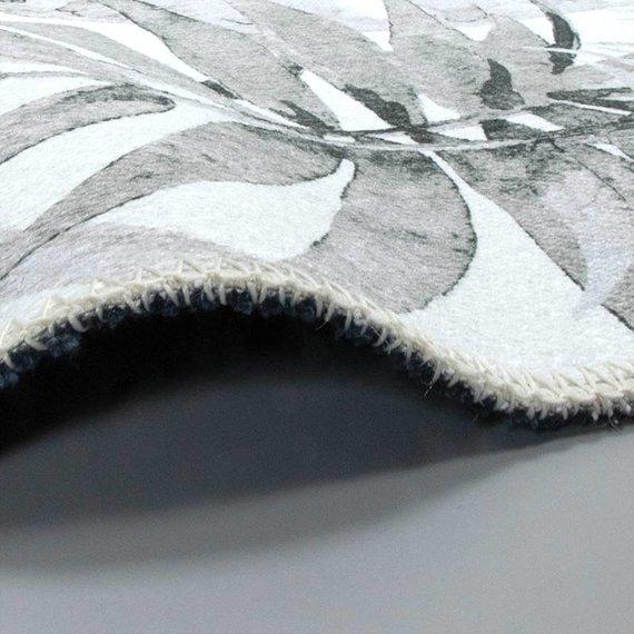 FRAAI Rond vloerkleed - Palmier Leaves Grey