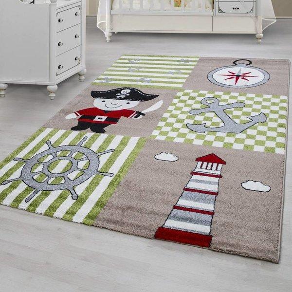 MoMo Carpets Kindervloerkleed - Piraat Groen/Beige