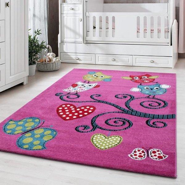MoMo Carpets Kindervloerkleed - Uiltjes Lila