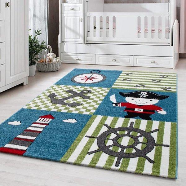 MoMo Carpets Kindervloerkleed - Piraat Blauw/Groen