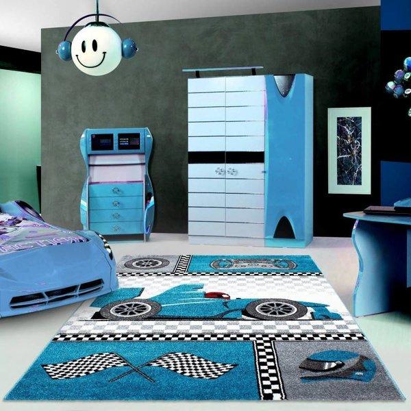 Adana Carpets Kindervloerkleed - Auto Blauw