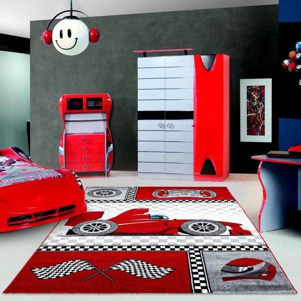 Adana Carpets Kindervloerkleed - Auto Rood