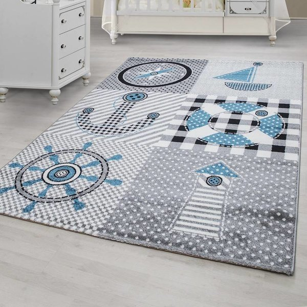 Adana Carpets Kindervloerkleed - Marine Grijs/Blauw