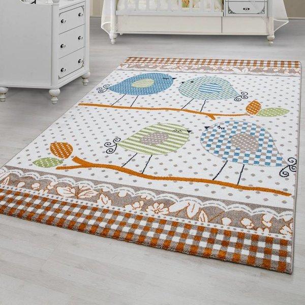 MoMo Carpets Kindervloerkleed - Vogeltjes Oranje/Beige