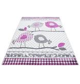 Adana Carpets Kindervloerkleed - Mila Vogeltjes Roze/Grijs