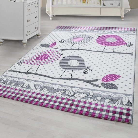 MoMo Carpets Kindervloerkleed - Vogeltjes Roze/Grijs