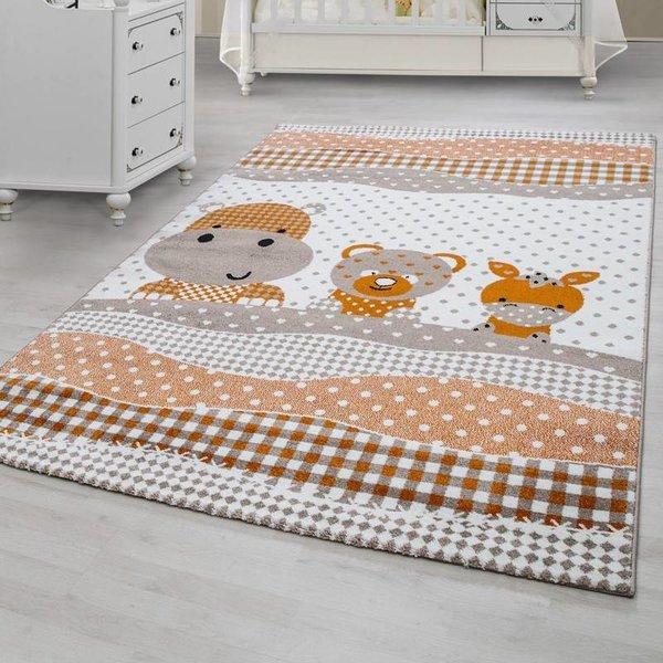 MoMo Carpets Kindervloerkleed - Teddybeertjes Oranje/Bruin