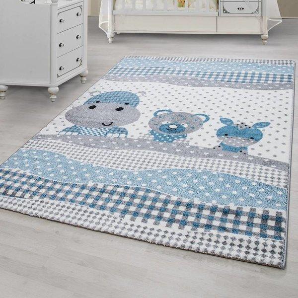 MoMo Carpets Kindervloerkleed - Teddybeertjes Grijs/Blauw