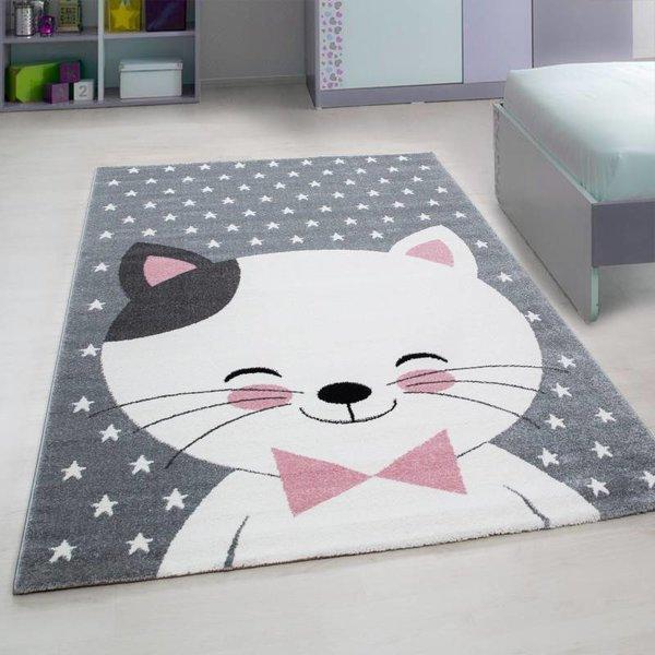 Adana Carpets Kindervloerkleed - Roze Kat