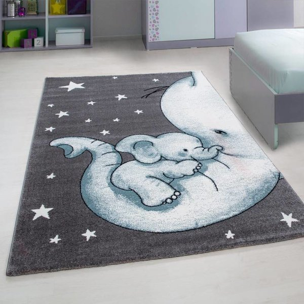 Adana Carpets Kindervloerkleed - Olifant Blauw