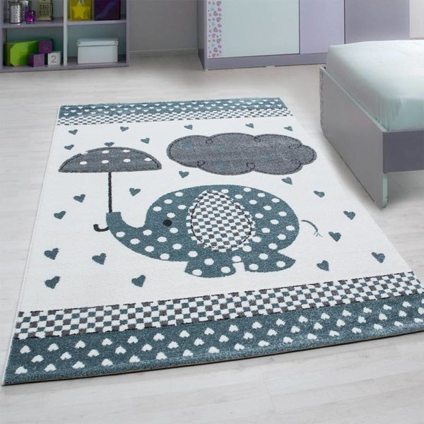 Adana Carpets Kindervloerkleed - Anna Olifant Paraplu Blauw