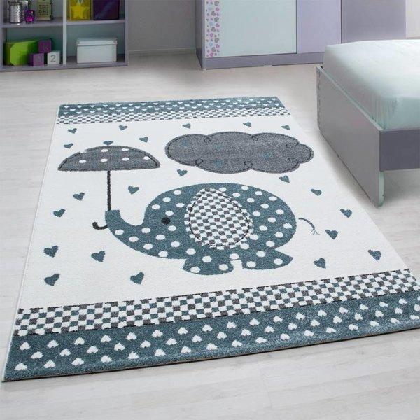 Adana Carpets Kindervloerkleed - Olifant Paraplu Blauw