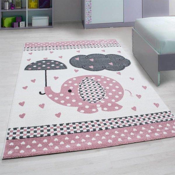 MoMo Carpets Kindervloerkleed - Olifant Paraplu Roze