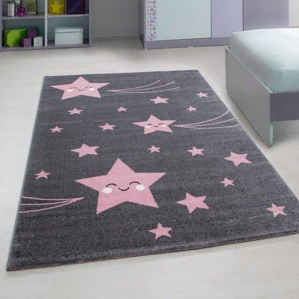 Adana Carpets Kindervloerkleed - Sterren Roze