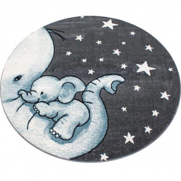 MoMo Carpets Kindervloerkleed - Olifant Blauw Rond