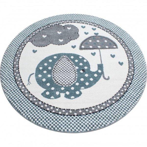 MoMo Carpets Kindervloerkleed - Olifant Paraplu Blauw Rond