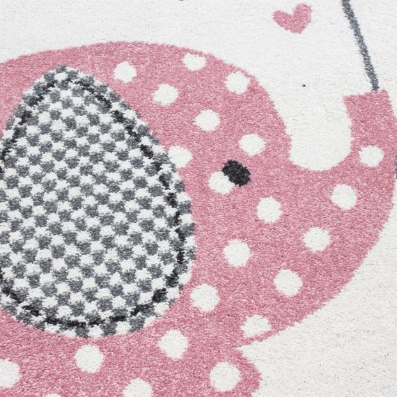 MoMo Carpets Kindervloerkleed - Olifant Paraplu Roze Rond