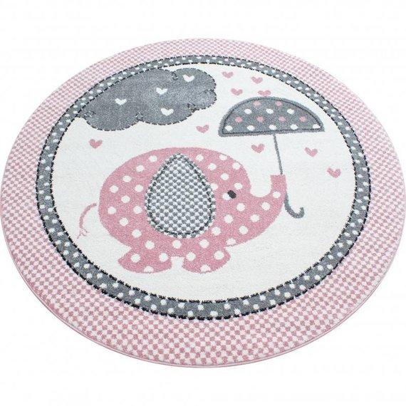 Adana Carpets Rond Kindervloerkleed - Anna Olifant Paraplu Roze
