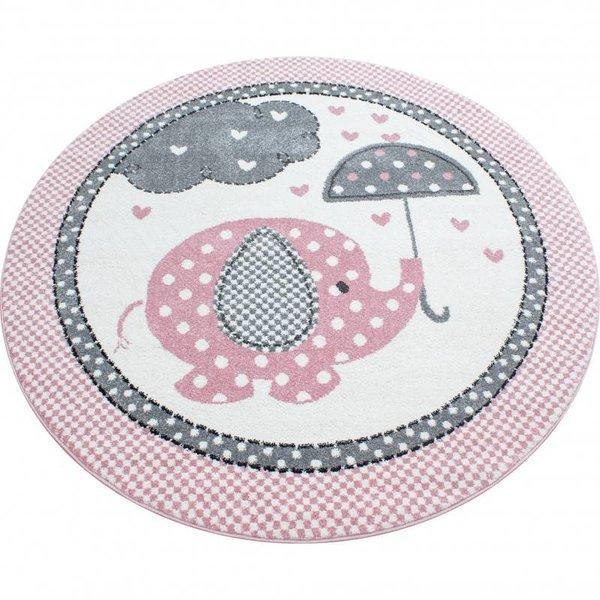 Adana Carpets Kindervloerkleed - Olifant Paraplu Roze Rond
