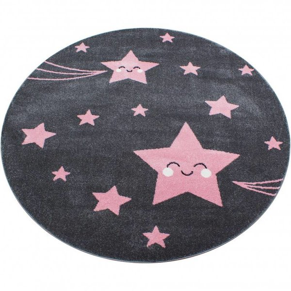 Adana Carpets Kindervloerkleed - Sterren Roze Rond