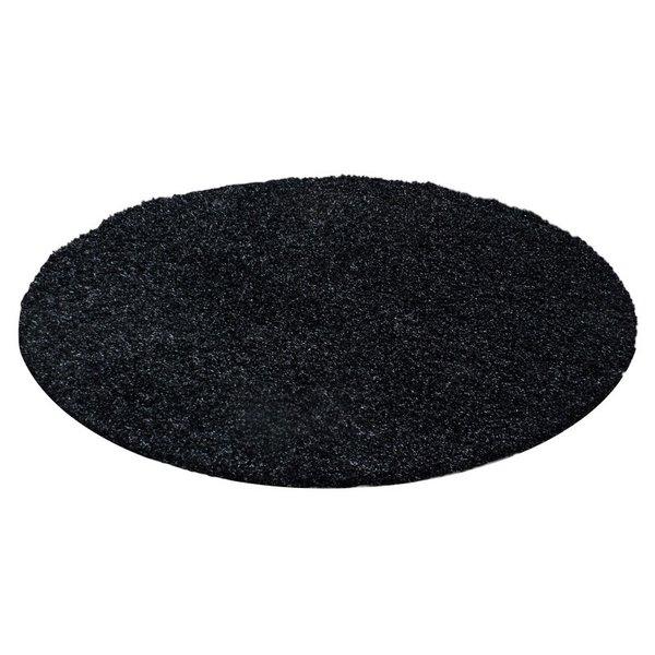 Rond Hoogpolig vloerkleed - Life Zwart