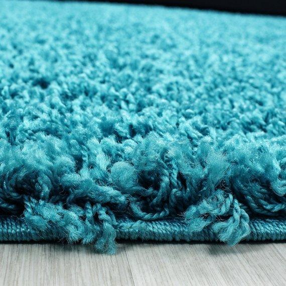 Rond Hoogpolig vloerkleed - Life Turquoise