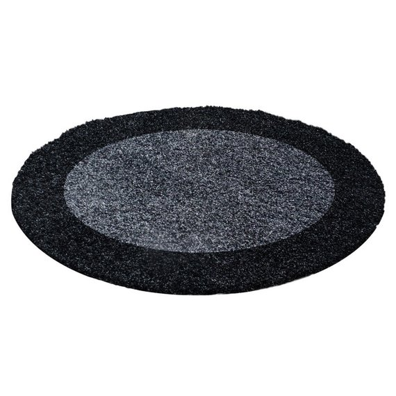 Adana Carpets Rond Hoogpolig vloerkleed - Edge Zwart