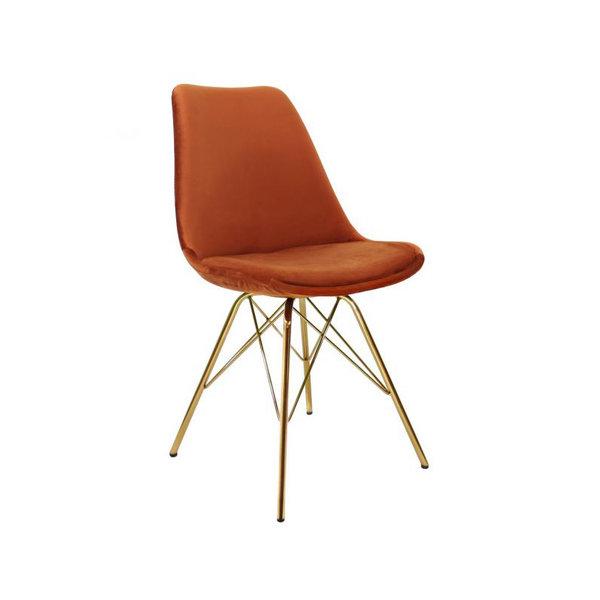 Kick Collectie Stoel Velvet Oranje - Goud frame
