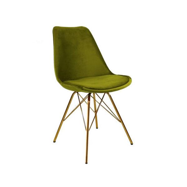 Kick Collectie Stoel Velvet Groen - Goud frame