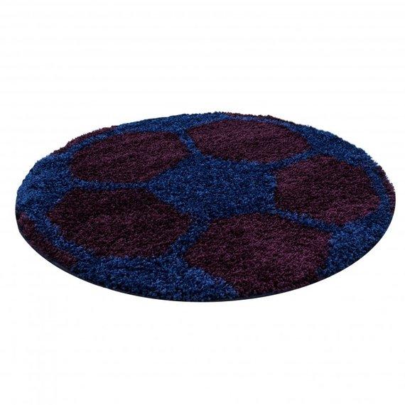 Adana Carpets Rond Hoogpolig vloerkleed - Fun Blauw