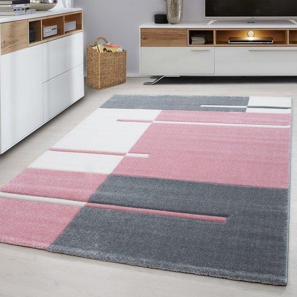 Modern vloerkleed -  Tetris Roze 1310