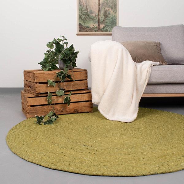 FRAAI Rond wollen vloerkleed - Wise Groen