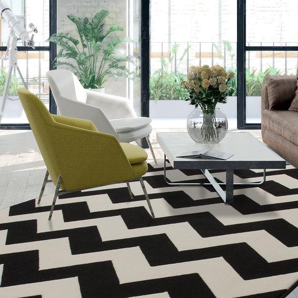 Modern vloerkleed - Mano ZigZag Zwart