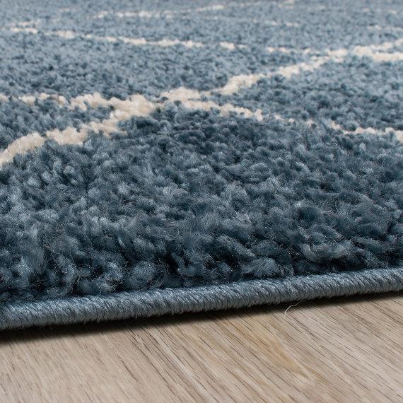 FRAAI Hoogpolig vloerkleed - Grand Lines Blauw/Creme