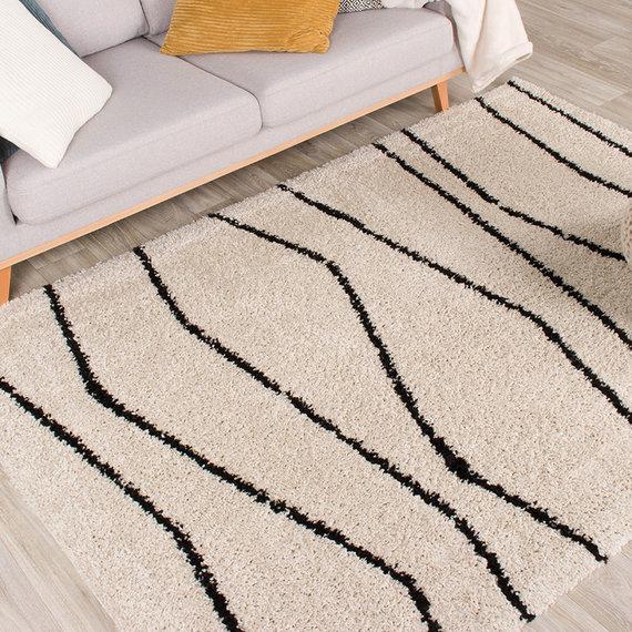 FRAAI Hoogpolig vloerkleed - Grand Wire Creme/Zwart
